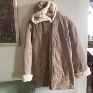 Vintage leather Sherpa lined parka - soooo soft!!